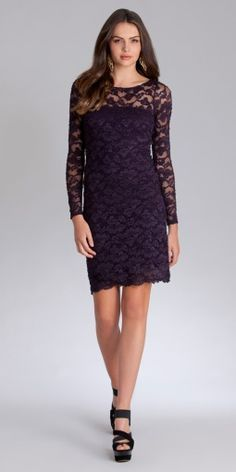 Purple Hypnotized Stretch Lace Long Sleeve Dress