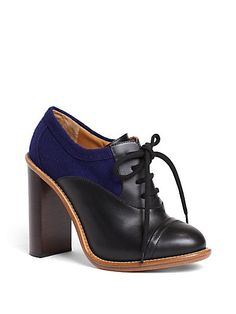 Benneth Bicolor Leather Lace-Up Ankle Boots by Chloe