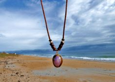 """Surf Girl Gold Trim Cowrie Sea Shell, Bamboo & Satin Cord Necklace Beach Jewelry. Sold by Hammock Life Merchandise. Designed by local artisan DebiLynn as part of her """"Imperfect Perfection"""" Collection"""