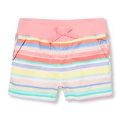 Girls Striped Knit Waistband Woven Shorts