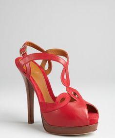 Fendi : Cherry ice leather cutout platform peep toe heels