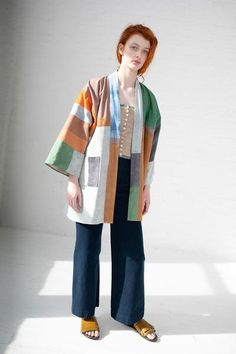 Quilted Kimono Jacket in Earth with Indigo Long Kimono Outfit, Kimono Jacket, Modern Outfits, Simple Outfits, Girl Fashion Style, Fashion Design, Havana Shirts, Recycled Denim, Jacket Pattern