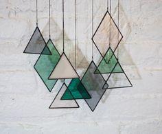 Gebrandschilderd glaselementen set van 9