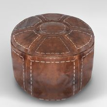 Brown Round Leather Moroccan Pouffe Ottoman, Pouf, Footstool