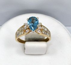 14kt Solid Yellow Gold Blue Topaz & Princess Diamond by FashNerds