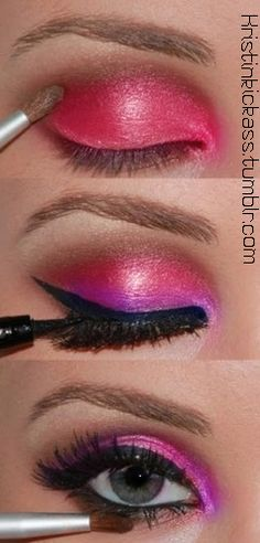 Pink Success - Apply the pink and then brown - then a little lilac to give a soft glow - Apply the eyeliner .. hope you enjoy.