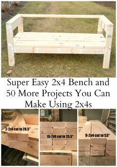 Wood Projects - The easiest bench plans ever! Based on an Ana White plan, this outdoor sofa can easily be made into a sectional with a little extra work. Diy Outdoor Furniture, Furniture Projects, Furniture Plans, Diy Furniture, Garden Furniture, System Furniture, Furniture Websites, Furniture Removal, Furniture Online