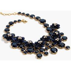 J.Crew Midnight Floral Necklace ($200) via Polyvore featuring jewelry, necklaces, floral jewelry, j.crew necklace, floral necklace, adjustable necklace and j crew jewelry