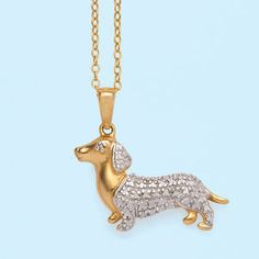 "18K Over sterling, genuine diamond accent  Dachshund pendant   Dachshund 3/4"" long"