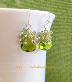 $18.00 Natural Peridot Earrings in Sterling Silver by C'sta! on Etsy