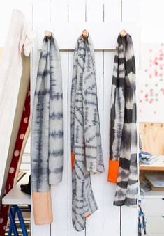 Joanna Fowles Textiles |    More of Joanna's beautiful hand-dyed scarves hanging in the studio.  Photo - Phu Tang. The Design Files