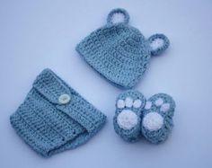 Ready to ship Bear Crochet Set,Cotton Crochet Set,Crochet Hat, Booties and Diaper Cover Set,Newborn Photo Prop,Baby Photo Prop,Baby Boy Bear