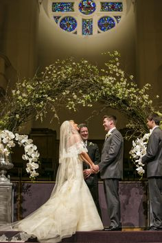 A romantic church wedding with a delicate arch and gorgeous orchids adorning the altar wedding arch Wedding Church Aisle, Wedding Ceremony Flowers, Wedding Vows, Wedding Venues, Church Ceremony, Wedding Bells, Fall Wedding, Dream Wedding, Trendy Wedding