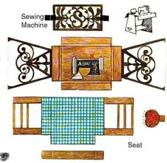 sewing machine and stand Paper Furniture, Doll Furniture, Dollhouse Furniture, Paper Doll House, Paper Houses, Cardboard Dollhouse, Dollhouse Miniatures, House Template, Doll Painting