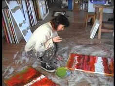 Christine Vannier at Work - YouTube - abstract art done mostly with pallet knife in a couple different sizes.  In French.