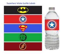 Superhero Water Bottle Labels Superhero by DreamyPartyPrintable