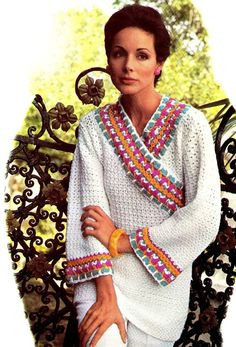 """Vintage Crochet Hippie 70s """"KIMONO"""" Pullover PDF Pattern - Summer / Beach Wear CLICK THIS PIN if you want to learn how you can EARN MONEY while surfing on Pinterest"""