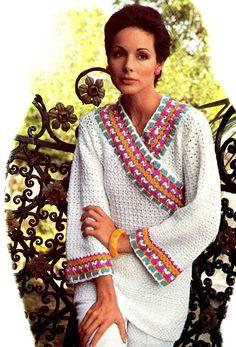 "Vintage Crochet  Hippie 70s ""KIMONO"" Pullover PDF Pattern - Summer / Beach Wear"