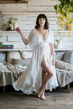 Today, we're sharing our favourite bridal robes to get ready in for gorgeous pre-wedding photographs and beautiful bridesmaid gifts like this fluttering long bridal robe handmade by Brooklyn lingerie designer Loulette Lingerie. Lace Bridal Robe, Bridal Party Robes, Bridal Lingerie, Bridal Boudoir, Bridal Cover Up, Lace Kimono, Bride Accessories, Bridal Musings, Cute Rompers