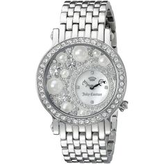 Juicy Couture Analog Display Quartz Silver Watch ($230) ❤ liked on Polyvore featuring jewelry, watches, silver jewellery, quartz watches, juicy couture jewelry, juicy couture and quartz wrist watch