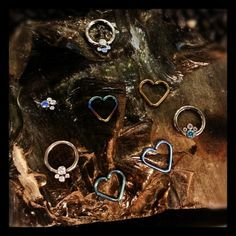 Gorgeous new gem clusters and titanium hearts! Pretties for your septum and daiths! Daith Piercing, Body Piercing, Septum, Piercings, Gauges, Body Jewelry, Girly Things, Sparkles, Body Art