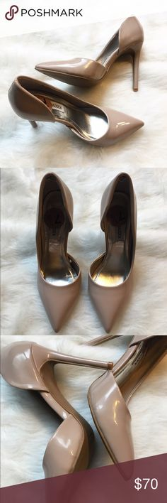 """Steve Madden """"Preme"""" Pump - Blush Never worn outside! This sleek pointy toe stiletto pump is PREME for any dressy occasion. A d'orsay cut sets the style apart, while shiny patent brings a classic versatility in neutral hues.  An elastic insert in the back heel helps to secure them on the foot. 4.25 inch heel height. *Some minor dings on heel from being out of the box.  Happy Poshing! (x trade) Steve Madden Shoes Heels"""