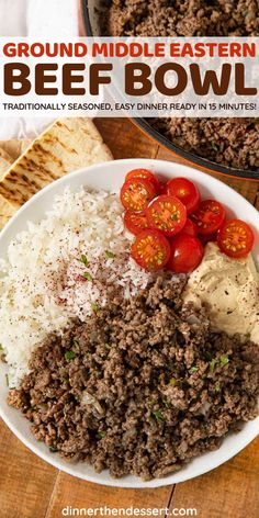 Ground Middle Eastern Beef Bowl is a tasty, easy dinner in 15 minutes. Beef seasoned with traditional spices served over rice, like a Kofta kebab in a bowl! #dinner #beef #beefbowl #groundbeef #middleeasternfood #dinnerthendessert