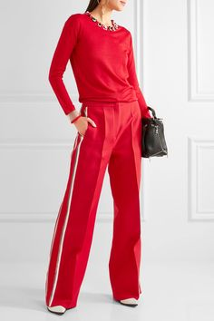 Fendi - Striped Wool And Silk-blend Wide-leg Pants - Red - IT44