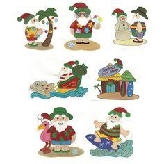 Tropical Santa SKU: DBJJ278 Design Set:  $20.00   $4.00 Instant Download! 4x4 and 5x7 hoop; 14 designs total