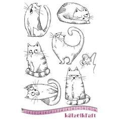 Tampon scrapbooking Les chats russes, non monté. Caoutchouc rouge naturel. Planche de 7 tampons. Thème: chats. Dimension de la planche: 14 x 20 cm - Katzelkraft Plus