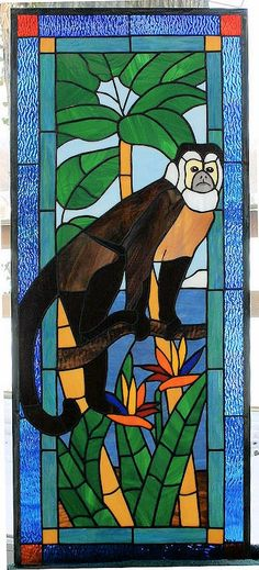 Beautiful exotic stained glass Capuchin Monkey - Priced for 15 x 37. All of my work is produced right here in US - No cheap imports! This