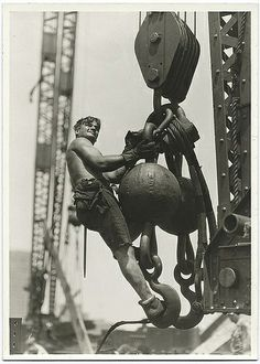 Hine, Lewis (1874-1940) - 1931 Worker Riding on Crane Hook