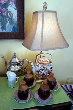 Love the teapot lamp at this Downton Abbey-inspired bridal shower