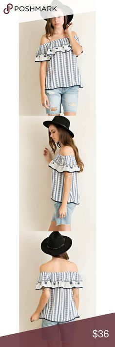 💥SALE💥Printed Off Shoulder Lace Ruffle Top Printed off shoulder with embroidered lace ruffle top featuring edge lace trim throughout. Elasticized neckline.     Color - Blue Combo.    100%Rayon.     Size-Small & Large ONLY Classic Paper Doll Tops Blouses
