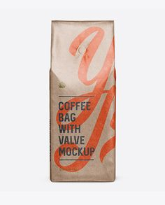 Glossy Kraft Coffee Bag With Valve Mockup - Front View. Preview