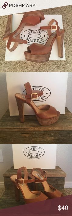 Steve Madden- taupe open toe heels These are so classic and pretty. Brand new but some scuffs from not having a box. When on wouldn't be noticeable! 5 inch heel Steve Madden Shoes Heels
