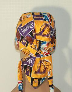 NBA Biker hat LA Lakers Doo Rag with pocket by UniScrubCaps, $10.99
