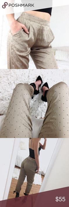 Shimmering Ankle Trouser Adorable silky khaki jogger trousers, size XS, brand is BCBGMaxAzria. Gunmetal colored stones. Only one missing jewel and it's not even noticeable. No give material, hip pockets. Elastic waistband. BCBGMaxAzria Pants Ankle & Cropped