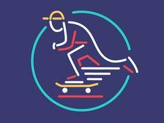 Neon Skate designed by Dermot Reddan. Connect with them on Dribbble; Skate Art, Saint Charles, Show And Tell, Logo Ideas, Logo Design, Neon, Logos, Shirts, Logo