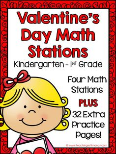 Welcome to Teaching with Nancy! These Valentine Math Stations are ideal for graders. This unit includes 4 independent math stations and 32 rep. Math Classroom, Kindergarten Math, Classroom Ideas, Preschool, Math Stations, Math Centers, Fun Math, Math Activities, Maths