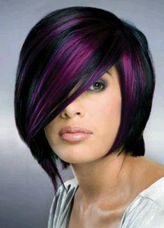 Black and purple hair The 30 Hottest Short Hair Color Trends for 2013 [Photo Gallery] Short Hair Cuts, Short Hair Styles, Curly Hair Cuts, Pixie Cuts, Medium Hair Styles, Hair Photo, Great Hair, Awesome Hair, Hair Today