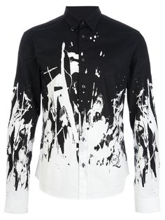 Mcq By Alexander Mcqueen Paint Splatter Shirt in White for Men (black) | Lyst
