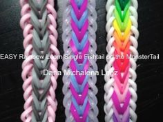Monster Tail Easy SINGLE FISHTAIL bracelet. Loomed by Dana Lenz from the Rainbow Loom design. Click photo for YouTube tutorial. 04/04/14