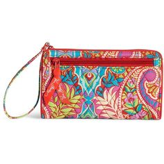 Vera Bradley Front Zip Wristlet in Paisley in Paradise ($34) ❤ liked on Polyvore featuring bags, handbags, clutches, paisley in paradise, front zip wristlet, party handbags, wristlet clutches, vera bradley wristlet e pocket purse
