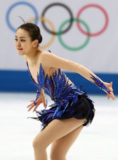 女子フリーで力強い演技をする浅田真央=ロシア・ソチのアイスベルク・パレスで2014年2月20日、山本晋撮影