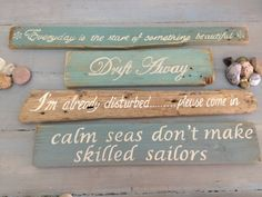 Hand painted drift wood signs ranging in sizes by Kymacreative, €25.00