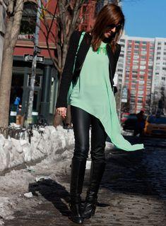 fashion style-mint-black-winter-pastels asymmetrical-hem