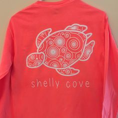 Neon Red Orange Spiral Long Sleeve Pocket Tee - Limited Edition