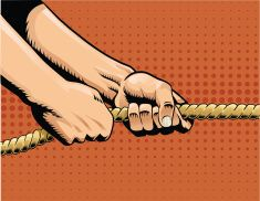Tug of War - Hands Pulling on Rope vector art illustration