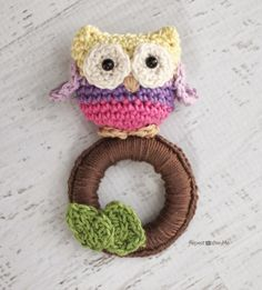 Crochet Owl Ring Baby Toy - Repeat Crafter Me